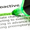 Image of the word proactive highlighted in green with the definition